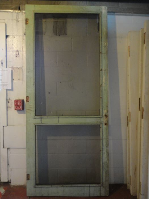 215 - Antique Wooden Screen Door - Old House Parts Company: Architectural Salvage, Antique Windows And